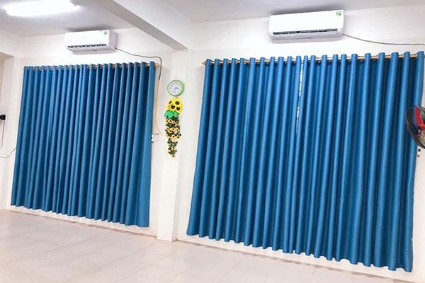 Rèm Vải Thô Một Màu-Xanh R860